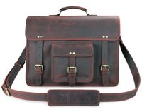 Wholesale 7234R Guarantee Genuine Leather Free Ship Vintage Design Briefcase Tote Travel Bag