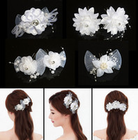 Wholesale 2015 Wedding Hair Accessories Silk Flowers Pearls Veil Bridal Accessories The Bride Headdress Cheap Clip