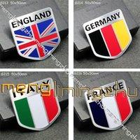 Wholesale 20pcs ITALY Eanland France Germany Flag D Aluminum Alloy Badges Emblem50x50mm