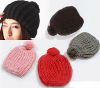 beanie bobble hat - 2016 Hot sales Fashion Women Lady Candy Color Warm Hat Wooly Knitted Beanie Winter Cap Pom Pom Bobble Caps