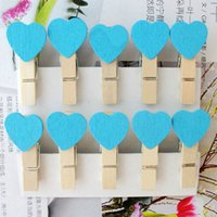 wooden hearts - Mini Clip with Heart shape Mini Wooden Clothes Peg Wooden Wedding Table Place Card Holders For Wedding Favor
