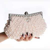 Wholesale Cheap Ladies Clutch Bags - Stunning Pearls Bridal Hand Bags Luxury Cheap High Quality Wedding Accessories Champagne Black Ivory Evening Party Bag