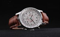 Wholesale hot silver automatic navitimer Mechanical dive Watches mens brown leather band brand with logo