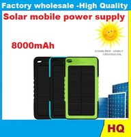 Wholesale 8000mAh Solar power Charger and Battery Solar Panel waterproof shockproof Dustproof portable power bank for Mobile Cellphone Laptop Camera