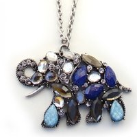 Cheap Hot Irregular Gem Jade Elephant Pendant for Women 2015 Fashion Long Chain Necklace Pendants Crystal