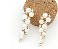 al por mayor espárragos circón-Stud Pendientes Bijoux Moda 18K Oro Encanto Cristal Cúbico Zircon Diamante Perla Perlas Pendientes Mujer Joyas Perlas Pendientes De Perlas