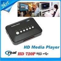 Wholesale 720p HD Media Center RM RMVB AVI MPEG HDD TV Player with USB and SD MMC Port Hot Worldwide