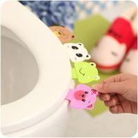 Wholesale 2015 Living Product Cute Cartoon Toilet Lid Device Portable Handle Bathroom Toilet Lid Bathroom Toilet Cover Sticker Accessories
