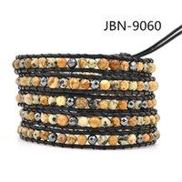 Wholesale Men s bracelets Charms jewelry multilayer bracelets dot agate hematite stone men s bracelet leather beaded bracelets for men JBN