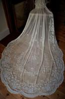Wholesale Vintage Cheap Sexy Two Layers Bridal Veils Ivory Lace Applique Bridal Accessories Wedding Veil Long Wedding Dresses Veil Arabic Indian