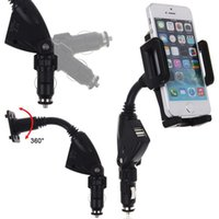 Wholesale Universal In Dual USB Ports Car Charger Holder for IPhone S C for Samsung S3 S4 S5 Degree Rotation