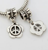 big metal sign - Antique Silver Peace Sign Plum Flower Big Hole Beads Fit European Charm Bracelets B1537 x22 mm
