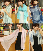 Wholesale Fashion New Style Brief Retro Winter Scarves Porcelain Chiffon Scarf For Women ST188