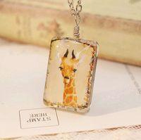 animal necklaces - Kawaii Yellow Deer Giraffe Pendant Necklaces for Christmas Long Pendant Necklaces Handmade Two Sided Animal Necklaces dxl006