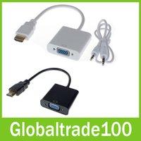 achat en gros de hdmi to usb converter-1080P HDMI vers VGA Converter Adapter Avec Audio Câble USB pour PC 10pcs / LOT Livraison gratuite