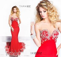 Cheap 2015 Red Mermaid Evening Dresses Long Tarik Ediz Sleeveless Sequins Evening Dresses Crystal Satin Elegant Formal Beaded Party Prom Dresses