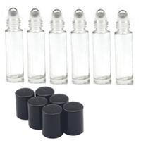 al por mayor metal in roll-Rollo vacío en botellas de cristal [INOXIDABLE rodillo de acero] Claro - 10ml recargable en color Roll On para Fragancia Aceite Esencial - metal cromado Roller
