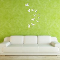 Wholesale fly bird wall stickers crystal home decoration DIY d mirror surface wall sticker child s gift