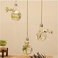 Wholesale Set of fashion light bulb glass planter air planter terrarium hanging bulb vases for home decoration