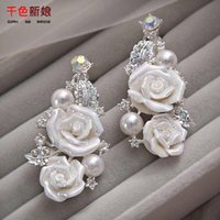 Wholesale Pearl Bead CZ Diamond Flowers Wedding Earrings Fashion Ivory Rose Flower Evening Prom Stud Earring Eardrop Cheap Exquisite