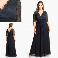 plus size mother of the bride dresses - 2015 Plus Size Mother of the Bride Dresses V Neck Half Sleeve Lace Custom Navy Blue Evening Gowns Ruffle Wedding Party Long Mother Dresses