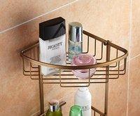 antique kitchen storage - Wall Mount Bathroom Kitchen Corner Shlef Antique Brass Cosmetic Holder Storage Basket