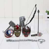 age mario - 5 cm Avengers Age of Ultron Hulk Thor Captain America Cosplay Weapons Thor Hammer Necklace Metal Pendant Necklace Set of