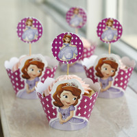 cupcake toppers - Sophia the first party supplies favors cupcake wrappers cake toppers picks kids birthday decorations accessories JIA023