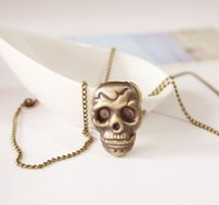 antique skull pocket watch - New Fashion Bronze Antique Skull Quartz steel Pocket Watch Necklace Chain Pendant Men Boy Wonderful Gifts