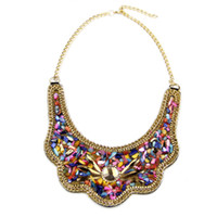 african net bead necklace - Women Net Fit Collar Chokers Necklaces Fashion Multicolor Resin Glass Bead Statement Necklace Pendant New Jewelry Colar