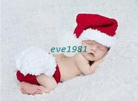 Wholesale Christmas Newborn Baby Infant Outfit Christmas Hat Cap and Shorts Set Costume Photography Props