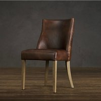study room furniture - French rustic style furniture luxury genuine leather dining chair solid wood desk chair chair of study room