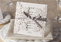 lace wedding invitations - Customizable Hollow Crystal Lace Bow Ribbon Wedding Invitations Laser Cut Wedding Invitation Cards Supplies Printable Cards