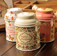 Wholesale Free ship pc Metal cans container tin tea caddy iron round boxes of tea food cans order lt no tracking