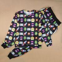 Wholesale FG1509 New funny expression sweats jogger pants suits cartoon emoji printing sweatshirt set for women men two piece fashion tracksuit