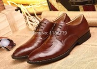 bands dress shoes - Italian Brand Mens Brown Dress Shoes Fashion Luxury Oxford Geniue Leather Shoes For Man Office Party Shoe