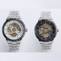 Wholesale AUTOMATIC Mechanical Men Steampunk Skeleton LK Colouring Stainless Steel Wrist Watch AUTO luxury fashion Wristwatch Sport Silver Watches