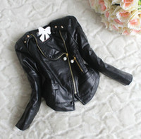 kids leather jackets - 2014 newest colors Winter Children Girls Leather Coat Kids Girls Long Sleeve Zip Patched Lace Thick Jacket Childs Wind Coat