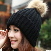 Wholesale Winter Women s Candy Beanie Knitted Caps Crochet Hats Artificial Fur Pompons Curling Ear Protect Cute Casual Cap Women Beanies