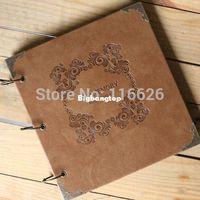 Wholesale 1509 TOP Grade Handmade PU leather cover photo album vintage embossing memory paper scrapbooking set of sheets kraft or black sheet