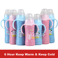 Wholesale 6 hours insulation feeding bottle nipple vacuum cup handgrip nursing bottle keep warm keep cold baby s water bottle milk thermos drinking
