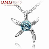 austrian crystal charms - Silver plated starfish Inlaid diamond exquisite Austrian crystal jewelry high quality women sweet style SKU A098