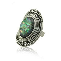 antique mothers ring - Hot Sale New Vintage Gemstone Ring Jewelry For Women Antique Silver Carving Flower Big Oval Shell Gemstone Rings R0037