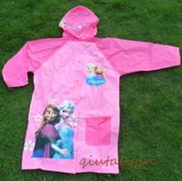 Girl bag capes - DHL Free Frozen Raincoat Children Rain Cape Cartoon Pattern Elsa Anna Design Kids PVC Hooded Rain Coat With School Bag Packing Rainwear H425