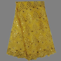 Wholesale Charming wedding party dress lace yellow with sequins design African net lace fabric French tulle lace AN45 yards