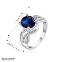 Wholesale Silver Ring Silver Fashion Jewelry Double rotary rod with blue stone Ring SMTR660