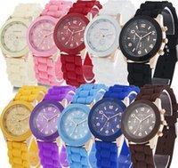 Wholesale China luxury mens watches women men geneva watch rubber candy jelly fashion unisex silicone quartz wrist watches for men women wristwatch