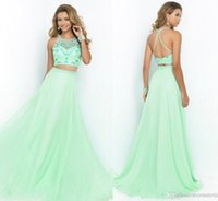 fresh apple - 2015 Two Pieces Prom Dresses Fresh Green Formal Party Ball Gowns With Beads Jewel Neck Soft Long Chiffon Sweep Train Cintage Maxi Prom Dress
