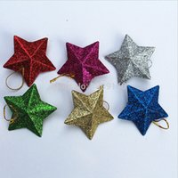 Wholesale New Christmas Tree Ornaments color Stars Plastic Christmas Hanging Decoration Gifts pieces set LJJD339 sets