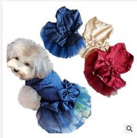 Wholesale Pet clothing dog clothes hot drilling than princess wedding dress skirt jumpsuit Teddy Bear Spring special bling dress C754